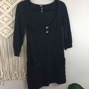 Free People black tunic with pockets Sz S